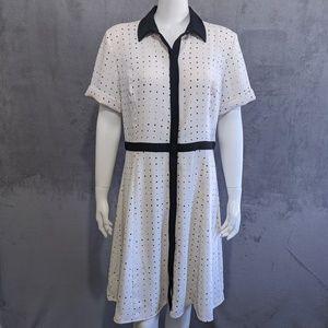 Ann Taylor white black polka dot button up dress